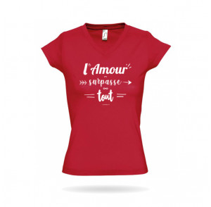 T-shirt femme col V «...